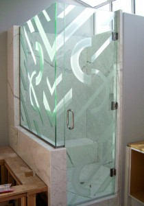 Etched Glass Shower Door
