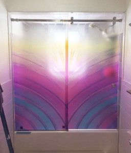 Colored Glass Shower Door